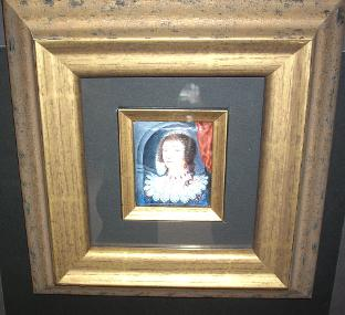 Framed miniature picture painted on copper