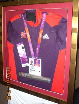 Olympic items in box frame