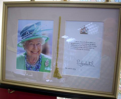 Framed card from Queen Elizabeth